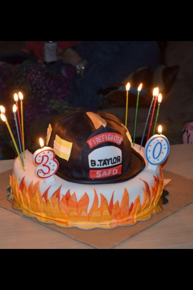 Fire Helmet Cake Firefighter Birthday Candles Bar