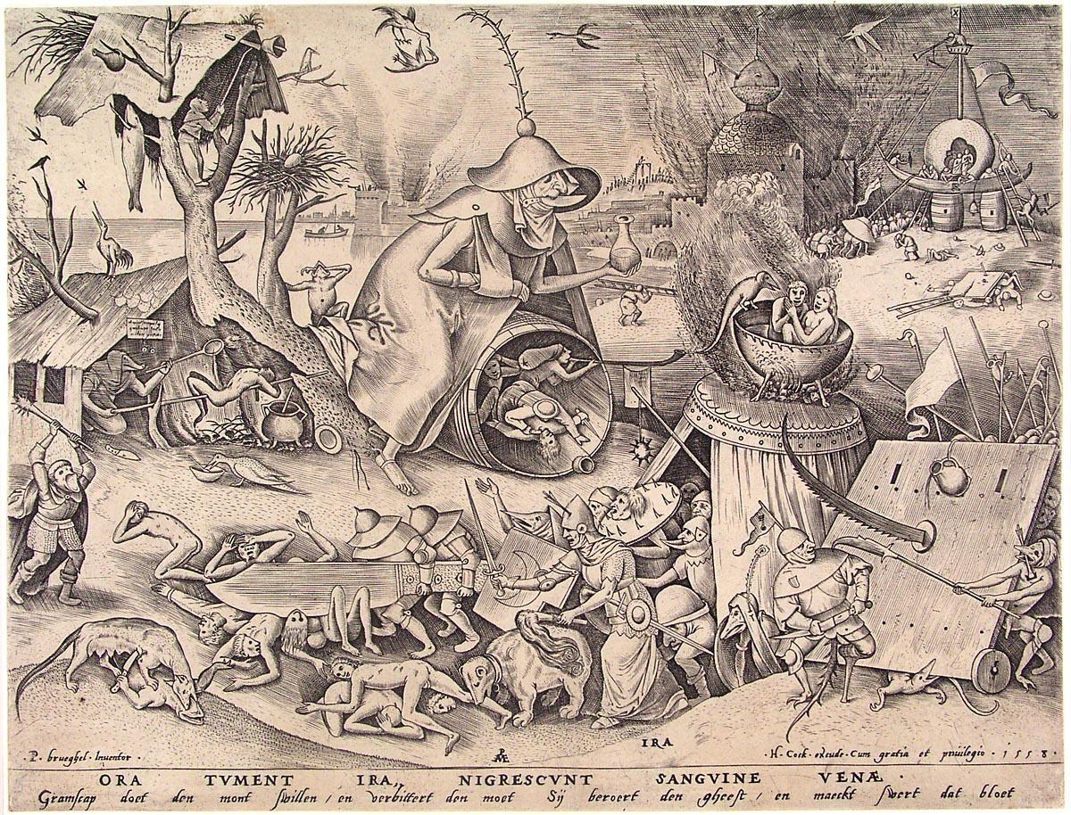 """Pray were swelling with anger, veins grow black with blood"" Artist: Pieter Bruegel the Elder c. 1590"