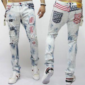 New Mens Fashion US Flag Printed Vintage Wash Spandex Ripped Jean ...