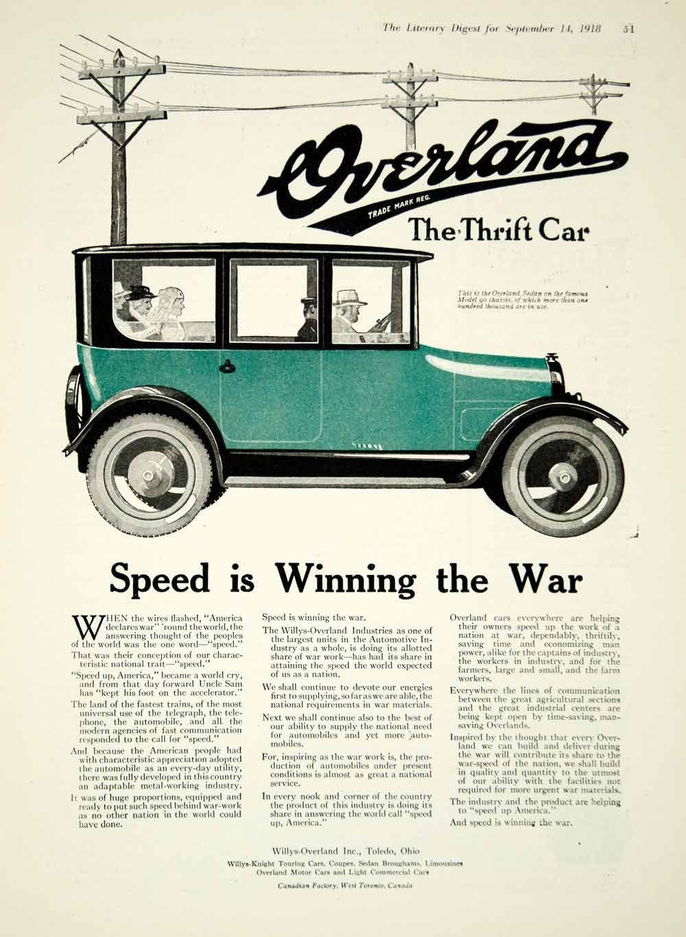 1918 Ad Sedan Thrift Car Willys Overland Incorporated Toledo Ohio