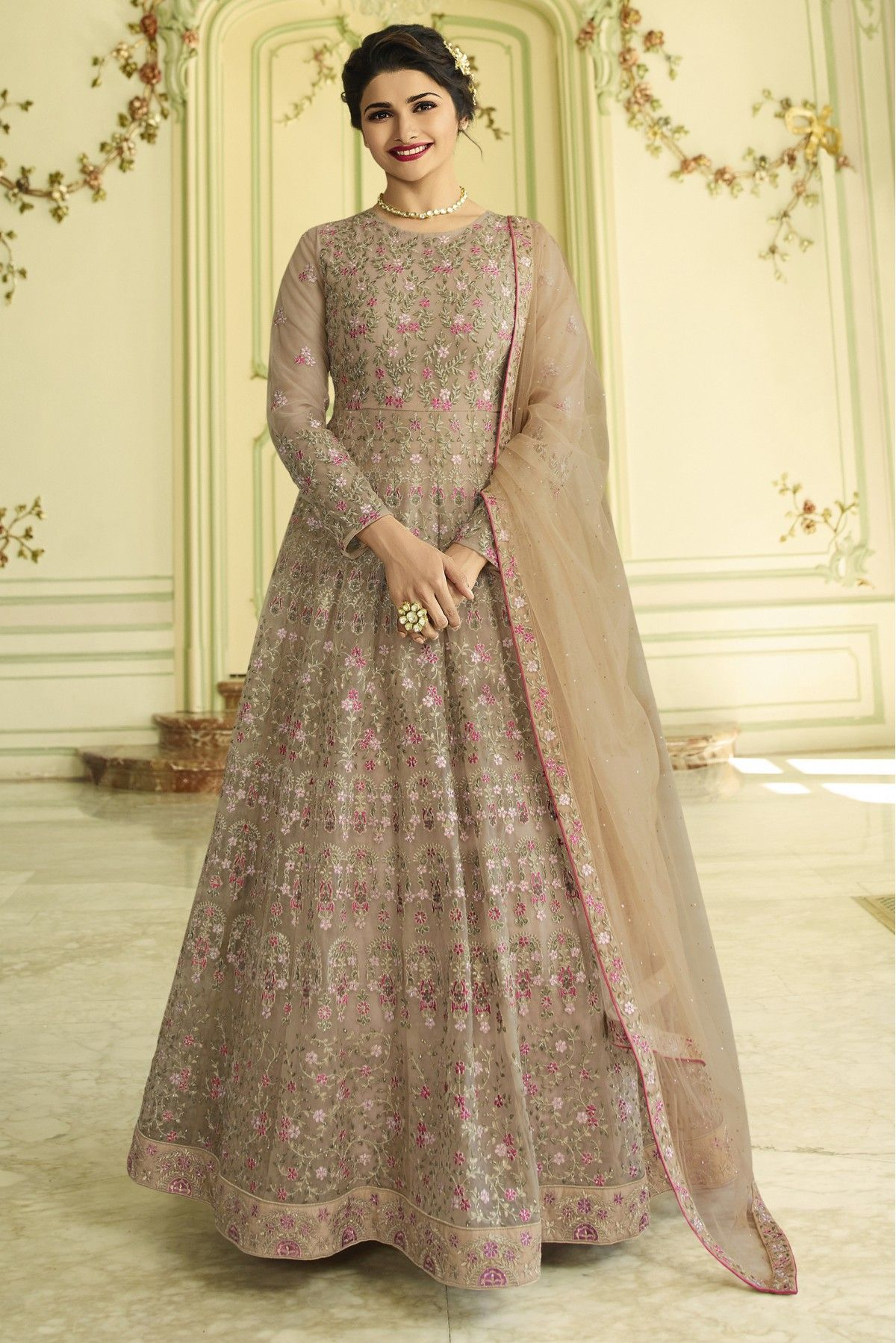9ea6c7b4268 This Exclusive Anarkali Suit Is An Ultimate Party Wear Collection With The  Mesmerizing Colours Of Beige With The Artistic Embroidery