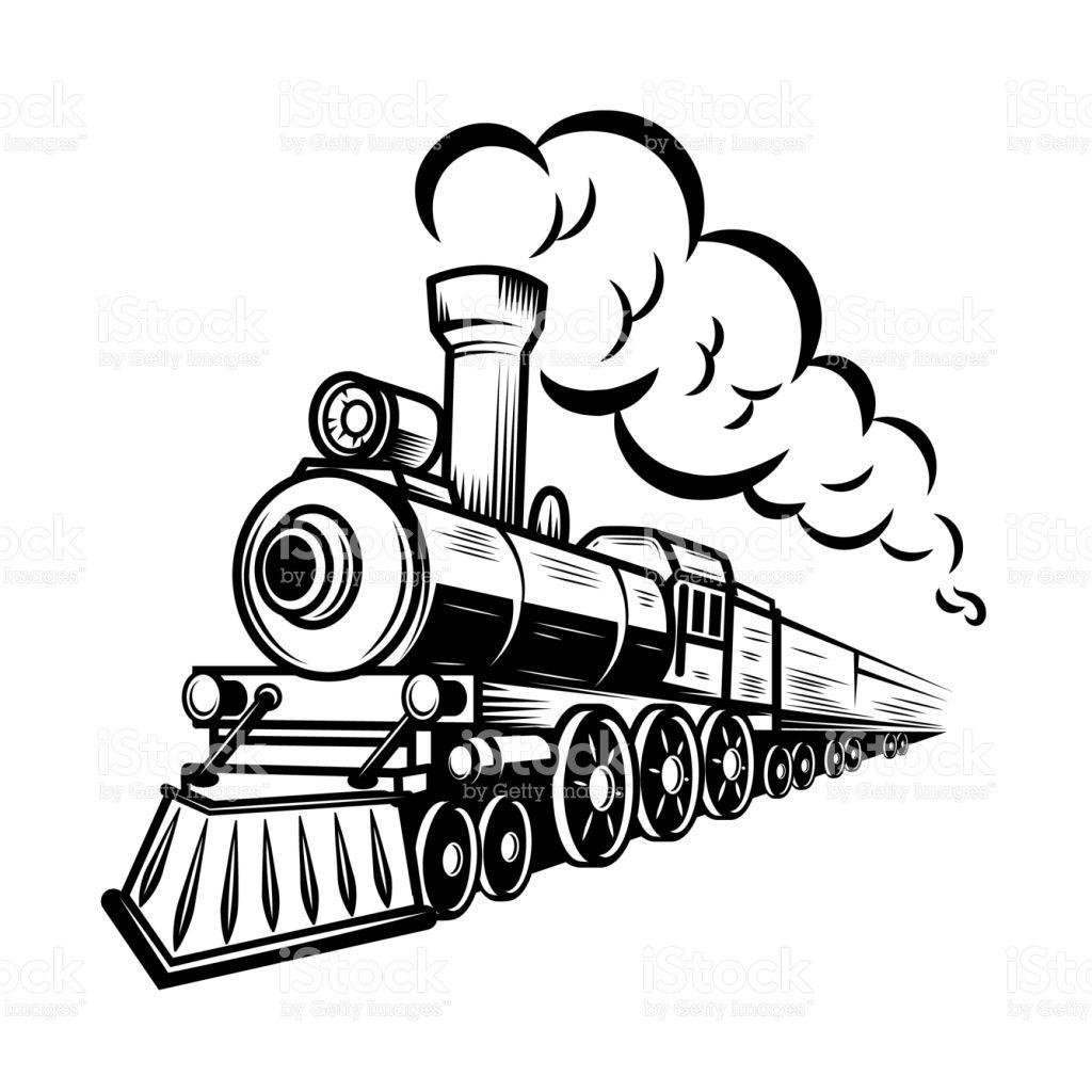Retro Train Illustration Isolated On White Background Design Element Train Illustration Train Drawing Train Sketch