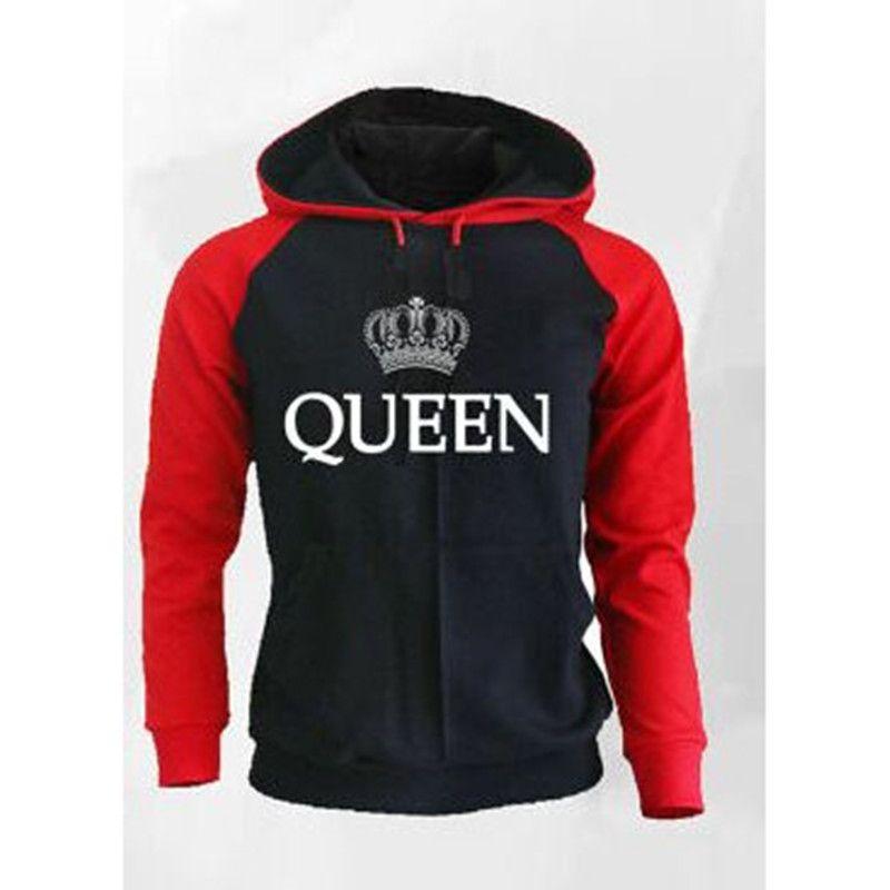 Couple Look Loose Jackets Tracksuit Jumper Woman Man Hoodies Sweatshirt  King Queen Crown Printed Hooded Pullover