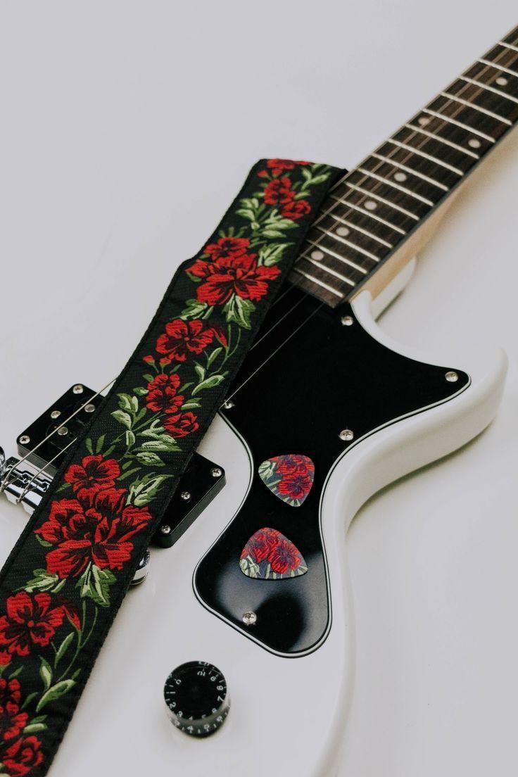 Red Roses Guitar Strap Guitar Strap Cotton Flower Roses W/FREE BONUS- 2 Picks + Strap Locks + Strap Button. For Bass, Electric & Acoustic Guitars. #acousticguitar #electricguitar #music #guitarstrap #guitar #redroses