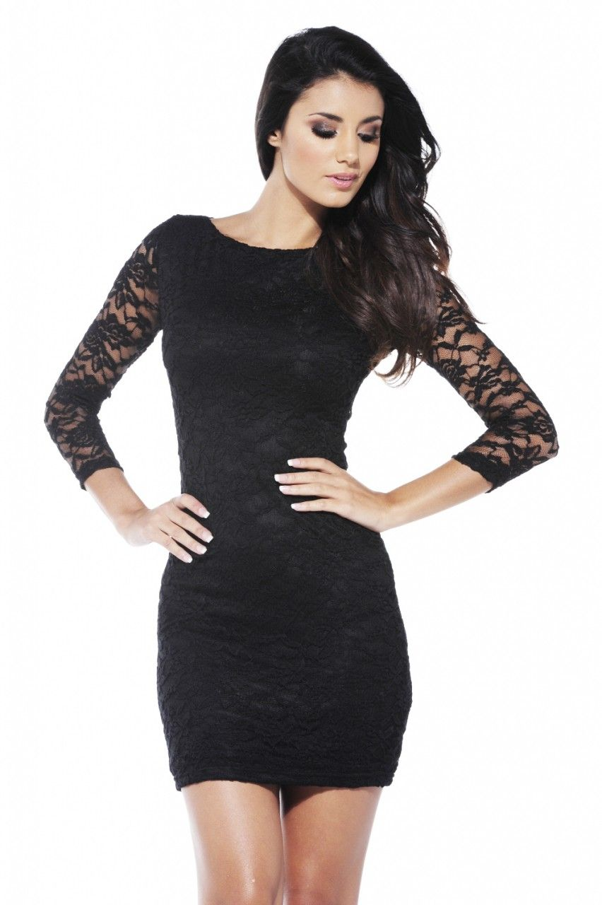 Black dress quarter sleeve - Quarter Lace Black Dress 46
