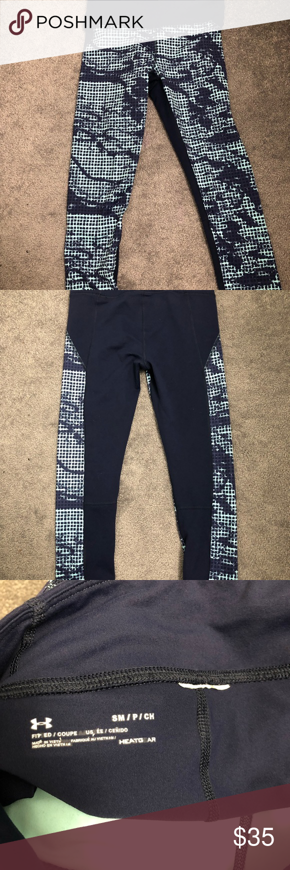 9b716a61ec00c Cropped leggings Under armor cropped blue patterned leggings! Super cute,  squat proof. Little hidden pocket. Worn twice. Under Armour Pants Leggings