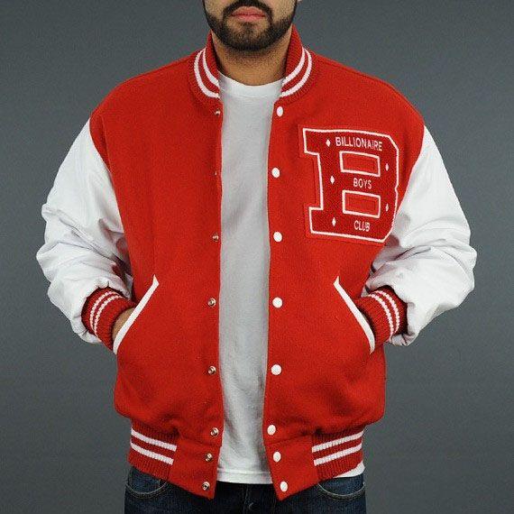 Billionaire Boys Club Bbc Men Letterman Jacket Red White