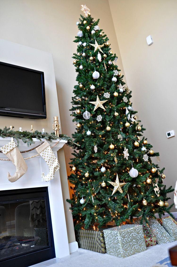 Holiday Home Tour Living Room Decor And The Dog Holiday Decor Gold Christmas Tree Holiday