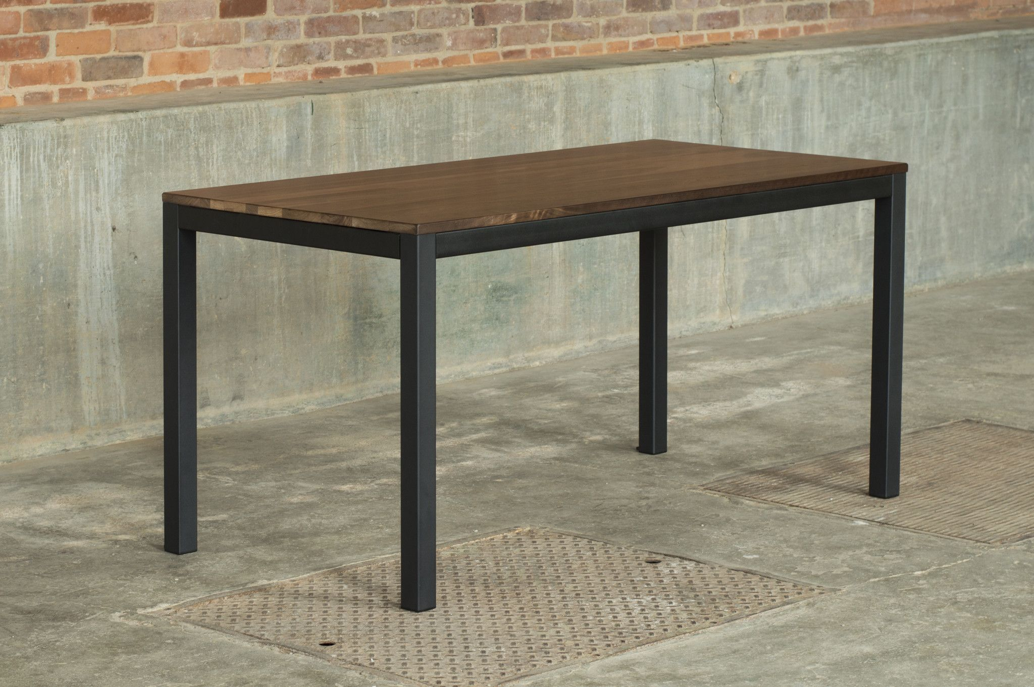 Loft 60u201dx30u201d Dining Table   Solid Walnut Table Top / Checker Black Frame