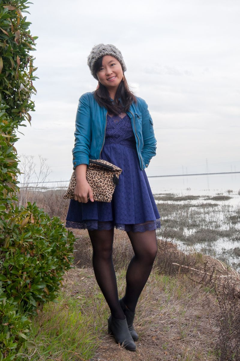 Stylepint winter outfit: Free People lace dress and Lucky Brand ...