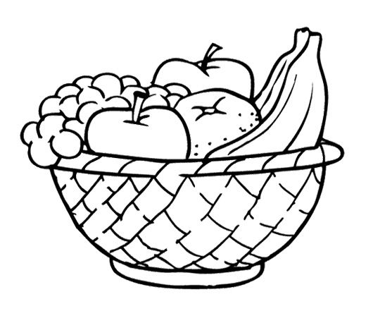 Apples And Other Fruits In The Basket Coloring Page Jpg 530 441