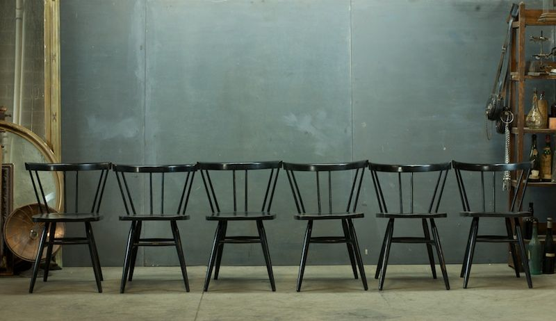 Paul McCobb black maple dining chairs c. 1950