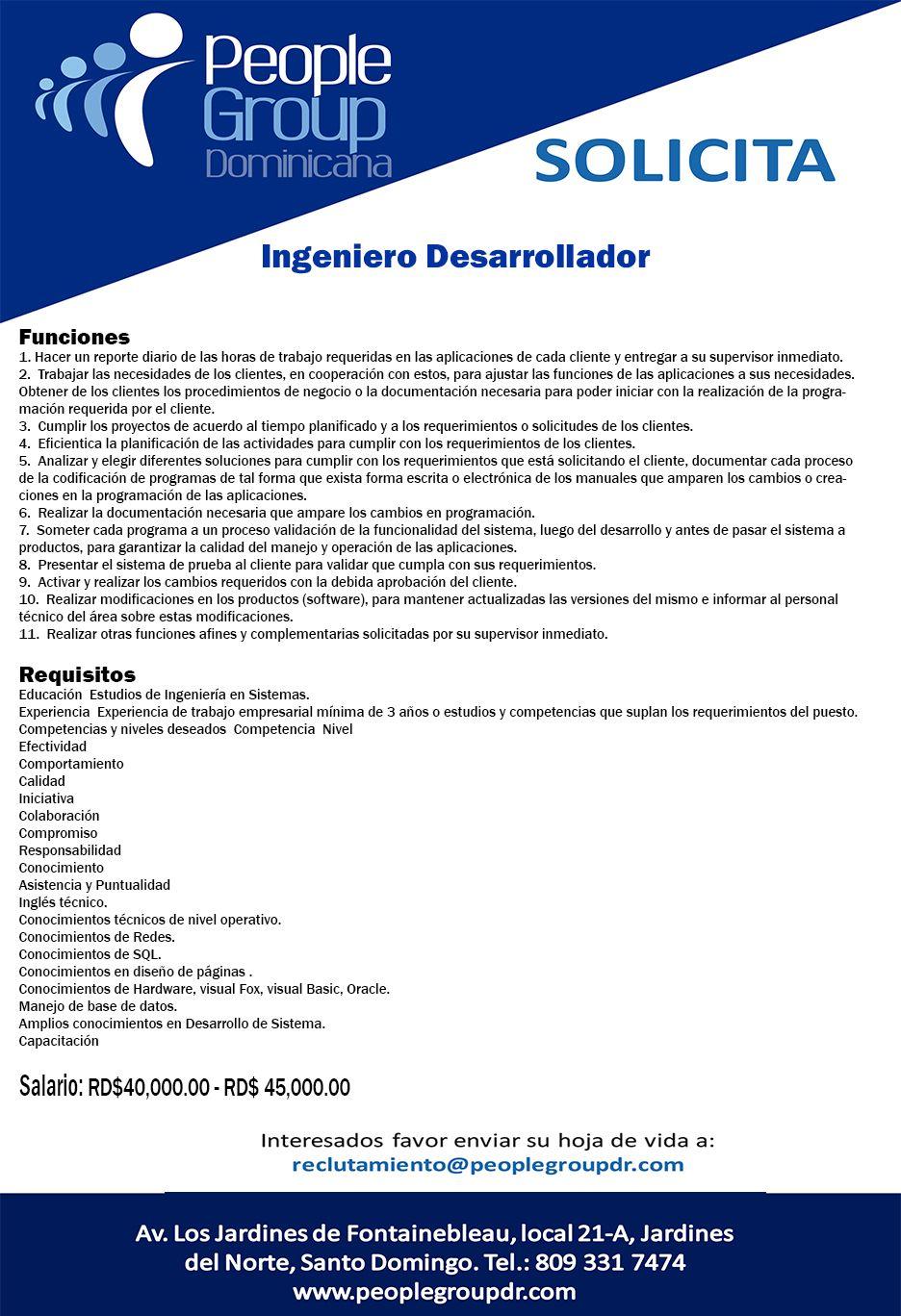 Nueva Oferta de Empleo. Mandar cv a reclutamiento@peoplegroupdr.com ...