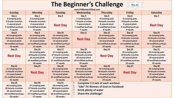 The Original Beginnera S Challenge You May Also Enjoy Workout Challenge Beginner 30 Day Workout Challenge Workout Calendar