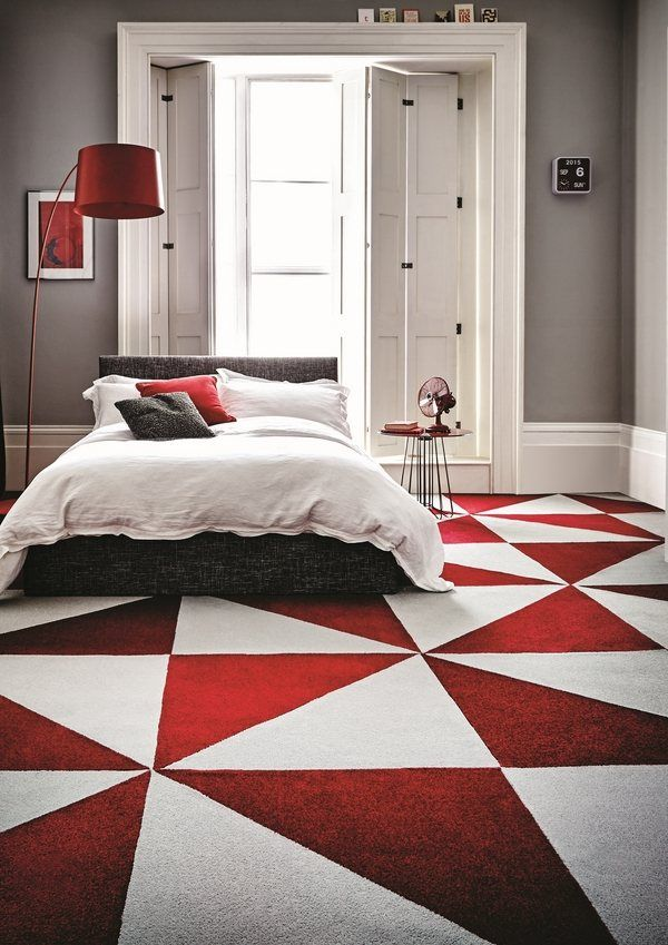 Affordable Flooring Ideas Triangle Carpet Tile Bedroom Flooring Ideas Red  White