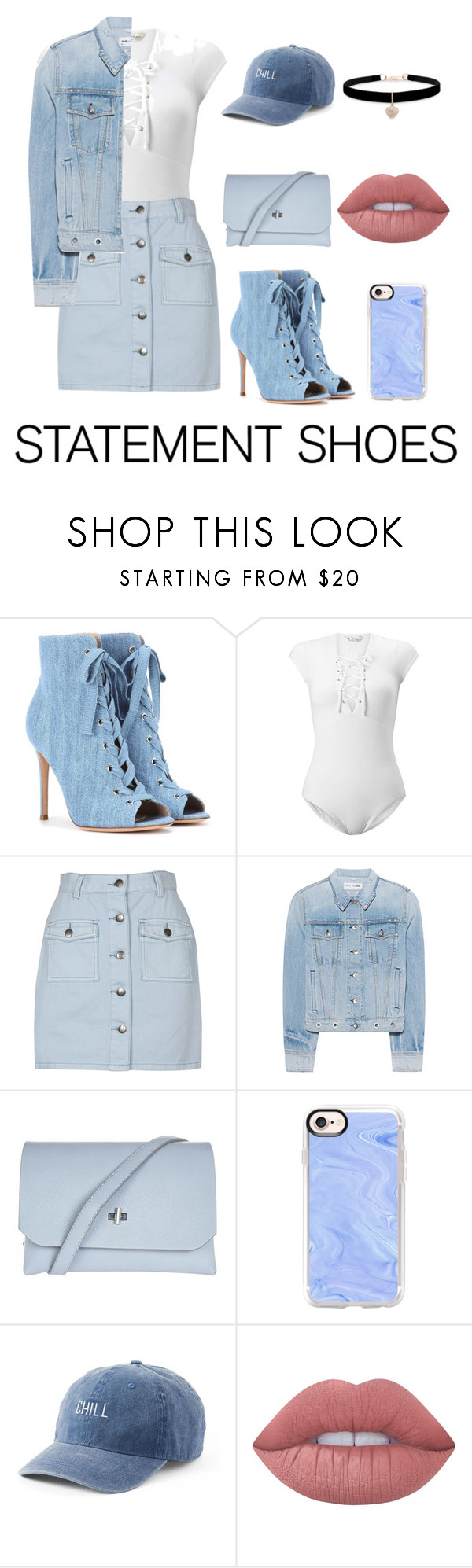 """""""Daring denim"""" by typicallylena ❤ liked on Polyvore featuring Gianvito Rossi, Miss Selfridge, MINKPINK, rag & bone, Topshop, Casetify, SO, Lime Crime, Betsey Johnson and StreetStyle"""