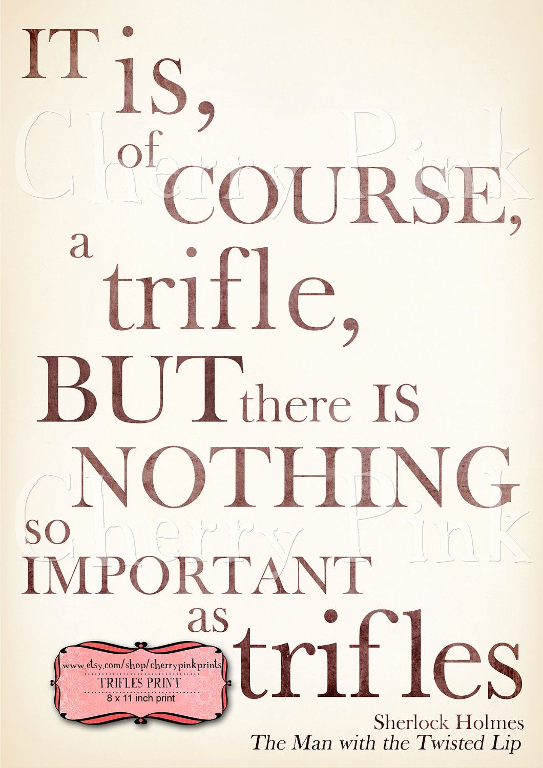 Sherlock Print, typography print, Sherlock Holmes quote from The