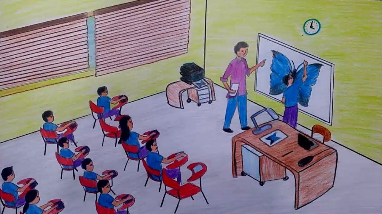 How To Draw A Drawing Classroom With Oil Pastels And Colour