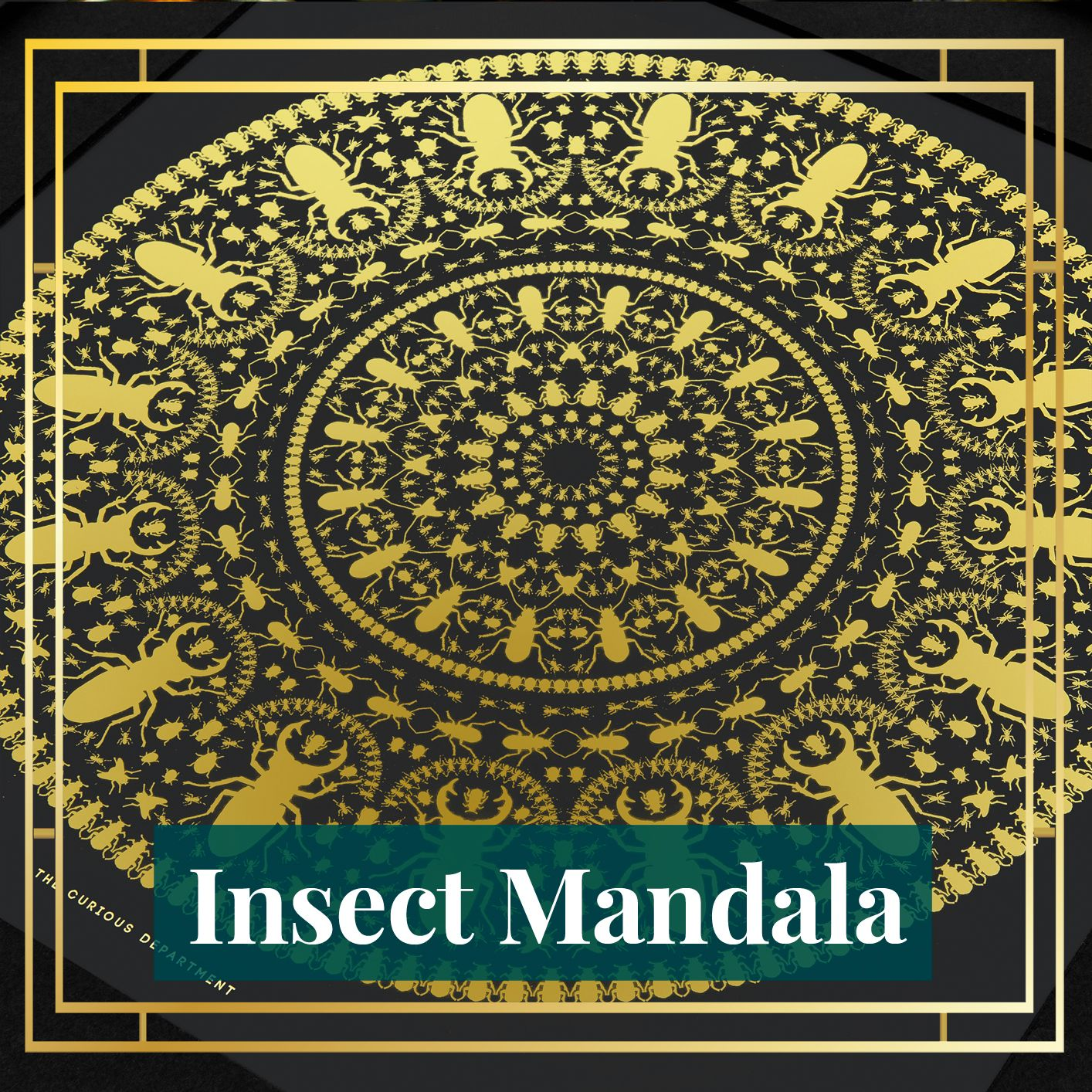 Our signature design, the Insect Mandala design can be found on our limited edition gold foil prints, gold cork coasters, faux suede cushions and our Fine Bone China range.