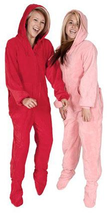 Big Feet Pjs Red Hoodie Plush Adult Footed Pajamas