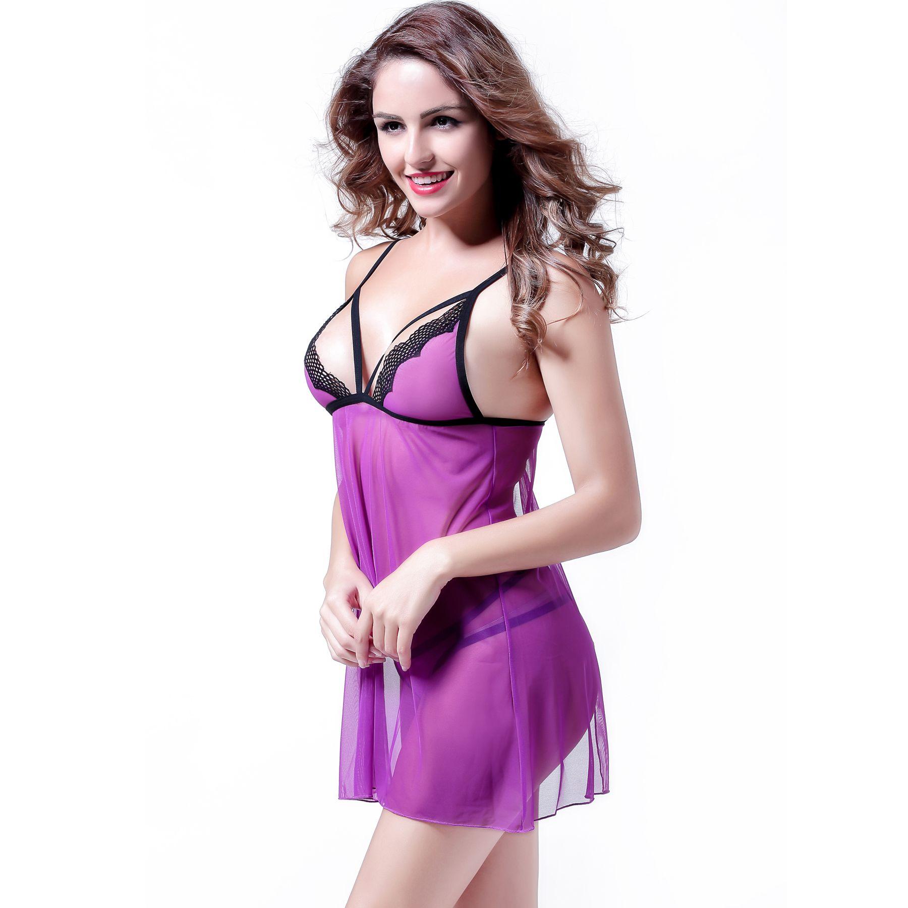 Anyou Sexy Lingerie Babydoll Dress V Neck Transparent Mesh Women Sleepwear  Nightgown White M - Walmart.com 310a295df