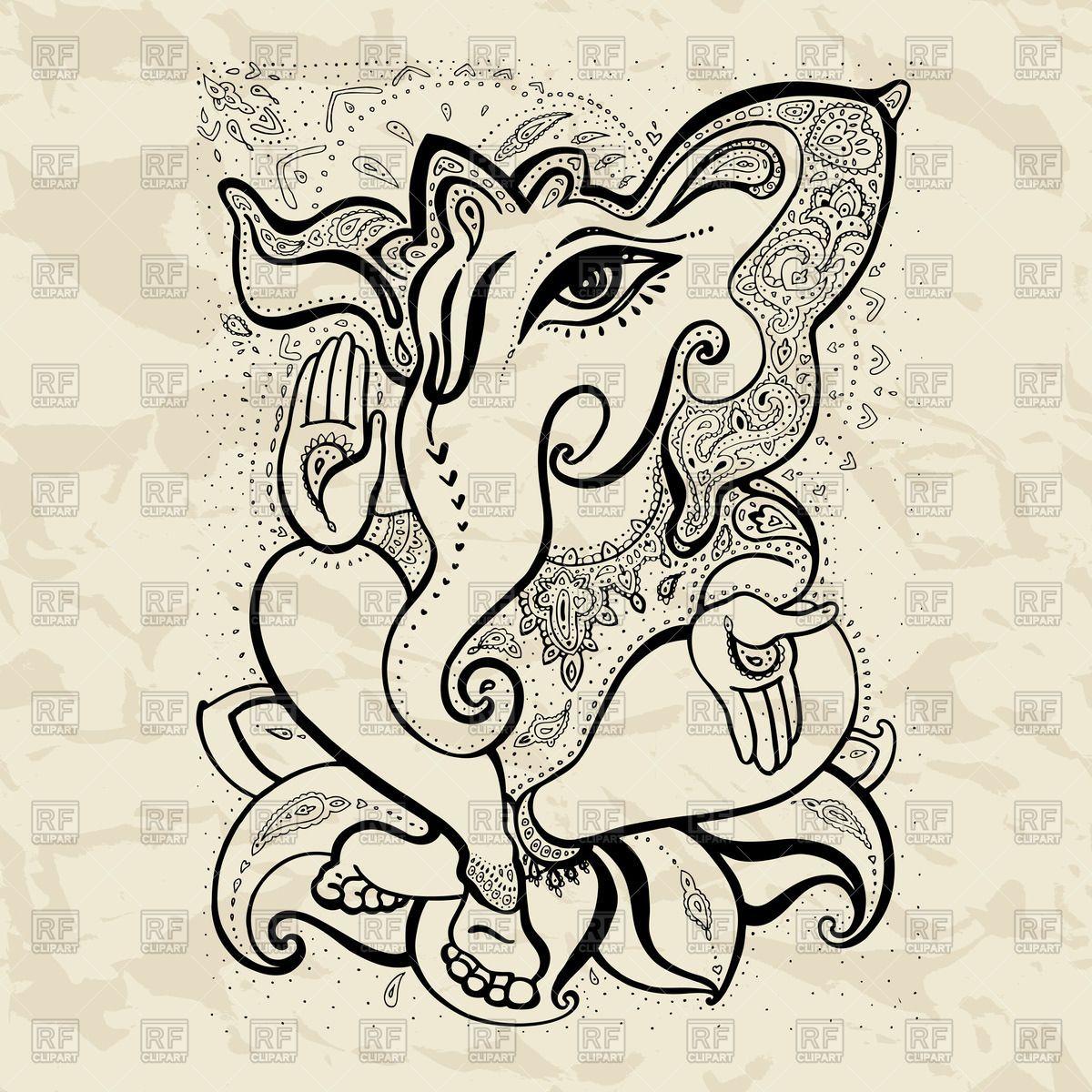 Hindu God Ganesha drawing with henna Vector Image | Hindus ...