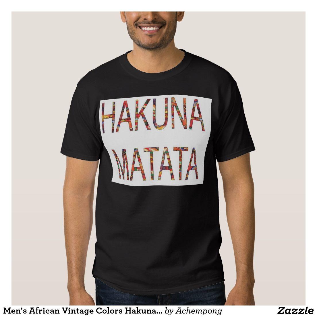 #O #vintage #africano #dos #homens #colore #Hakuna #Matata #Tshirt #Roupa #para #Bebês e #Crianças #Significado #Conhecido