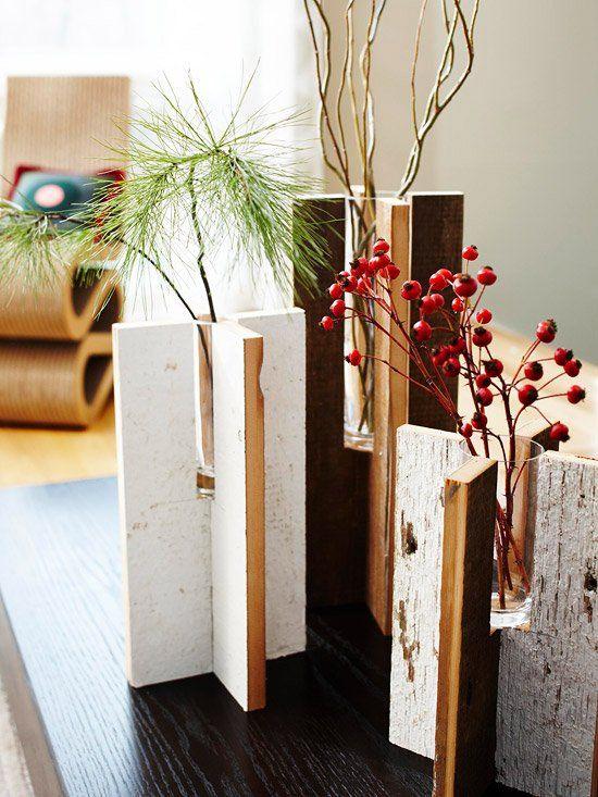 Rustikale Vase-selber machen-Ideen Weihnachtsgeschenk-basteln