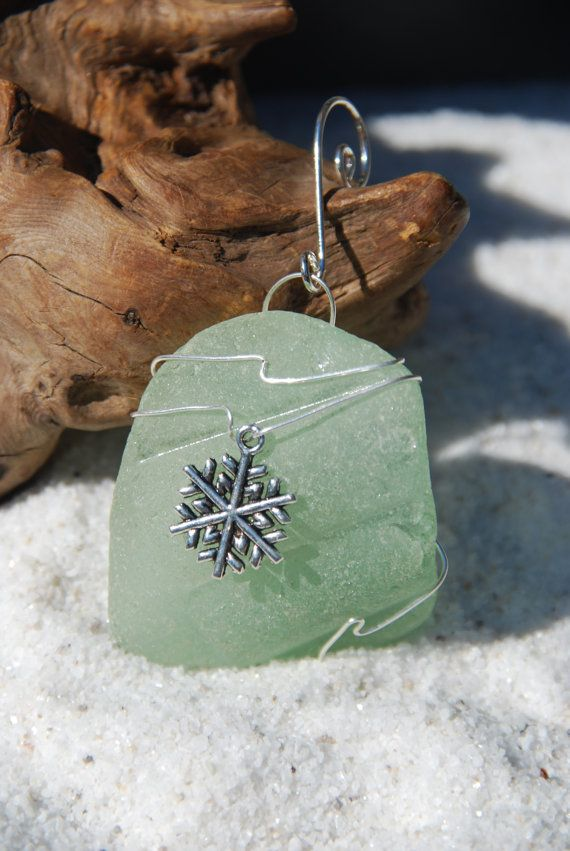Authentic frosted aqua sea glass Christmas ornaments with silver snowflake charm. Genuine frosted aqua sea glass ornament. Dress up your Christmas