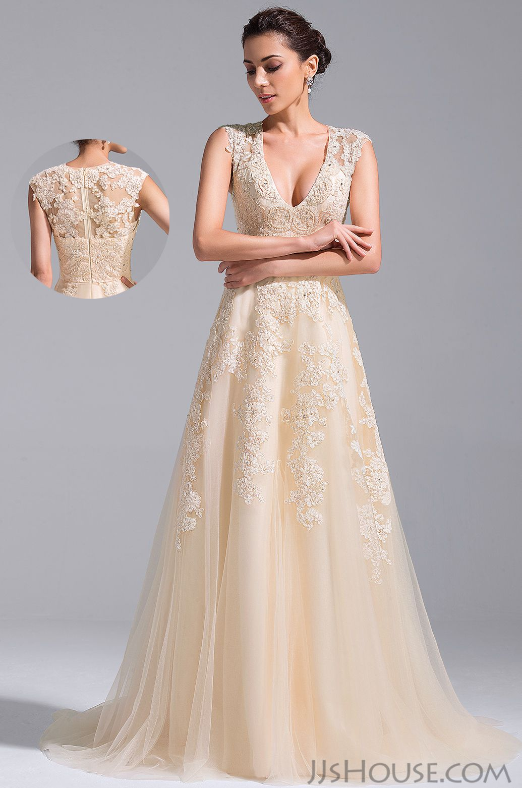 Lace v neck wedding dress  The Vneck wedding dress will be perfect for your big day JJsHouse