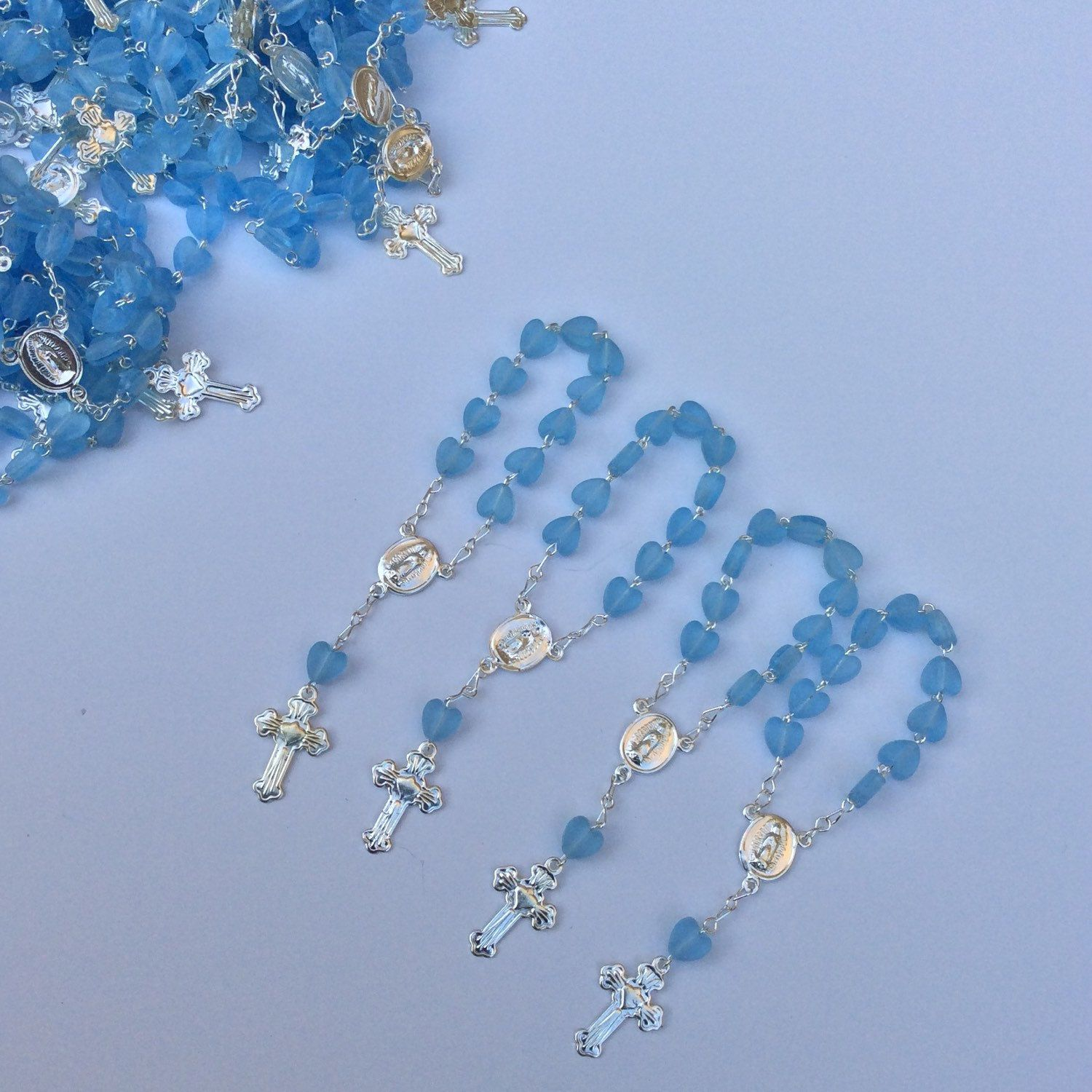 Mini rosaries perfect for baptism favors heart shaped color blue