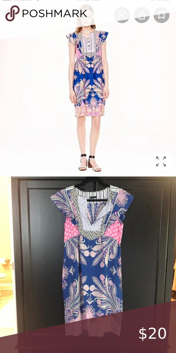 Jcrew silk flutter sleeve dress, size medium