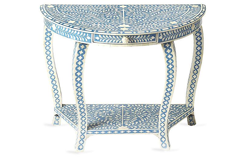 Rhodes Bone Inlay Console Blue White Console Furniture