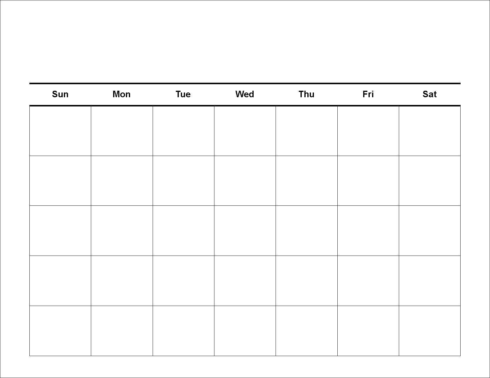 Blank Calendar Template Printable Calendar Grid Weekly Calendar