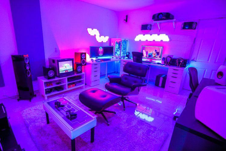 40 Best Video Game Room Ideas Cool Gaming Setup 2020 Guide Video Game Rooms Gaming Room Setup Video Game Room Design