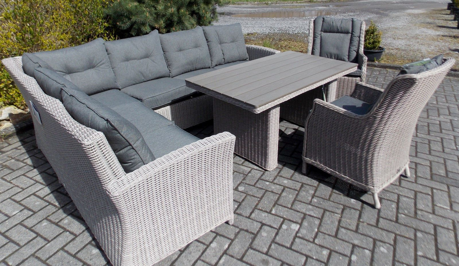 polyrattan sofaset gartenm bel lounge sitzgruppe sofa eckgruppe wine dine in garten terrasse. Black Bedroom Furniture Sets. Home Design Ideas