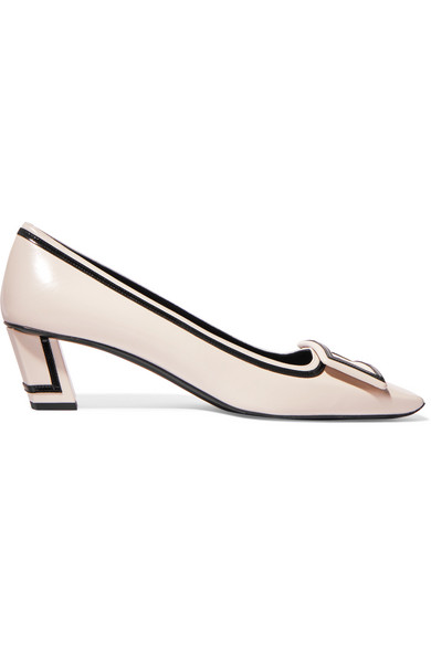 355fe939d Roger Vivier - Belle Vivier Graphic Patent-trimmed Leather Pumps - Off-white