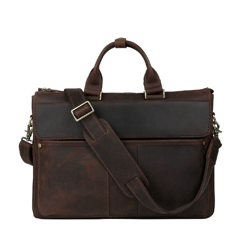 8245cfc79be9 Aolen Crazy Horse Genuine Leather Men Bag Men Messenger Bags Vintage  Business Briefcases Laptop Bags Men s