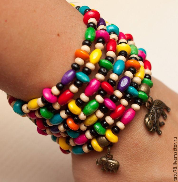 КРАСКИ ИНДИИ браслет деревянный | Браслеты, Индийский слон, Краска
