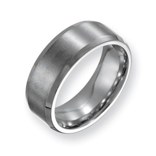 Stainless Steel Beveled Edge 8mm Brushed and Polished Comfort Fit Wedding Band Ring (Size 6-13 ) Chisel. $34.00