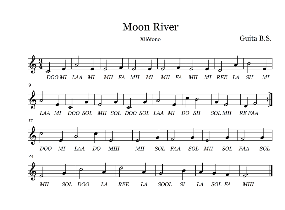 All Music Chords Moon River Sheet Music Moon River Moon River