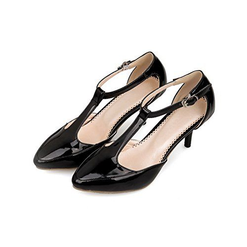 c17a13249da VogueZone009 Womens Closed Toe Pointed Toe Kitten Heels Fur Solid Sandals  with Strap Buckle Black 5 BM US     AMAZON Great Sale