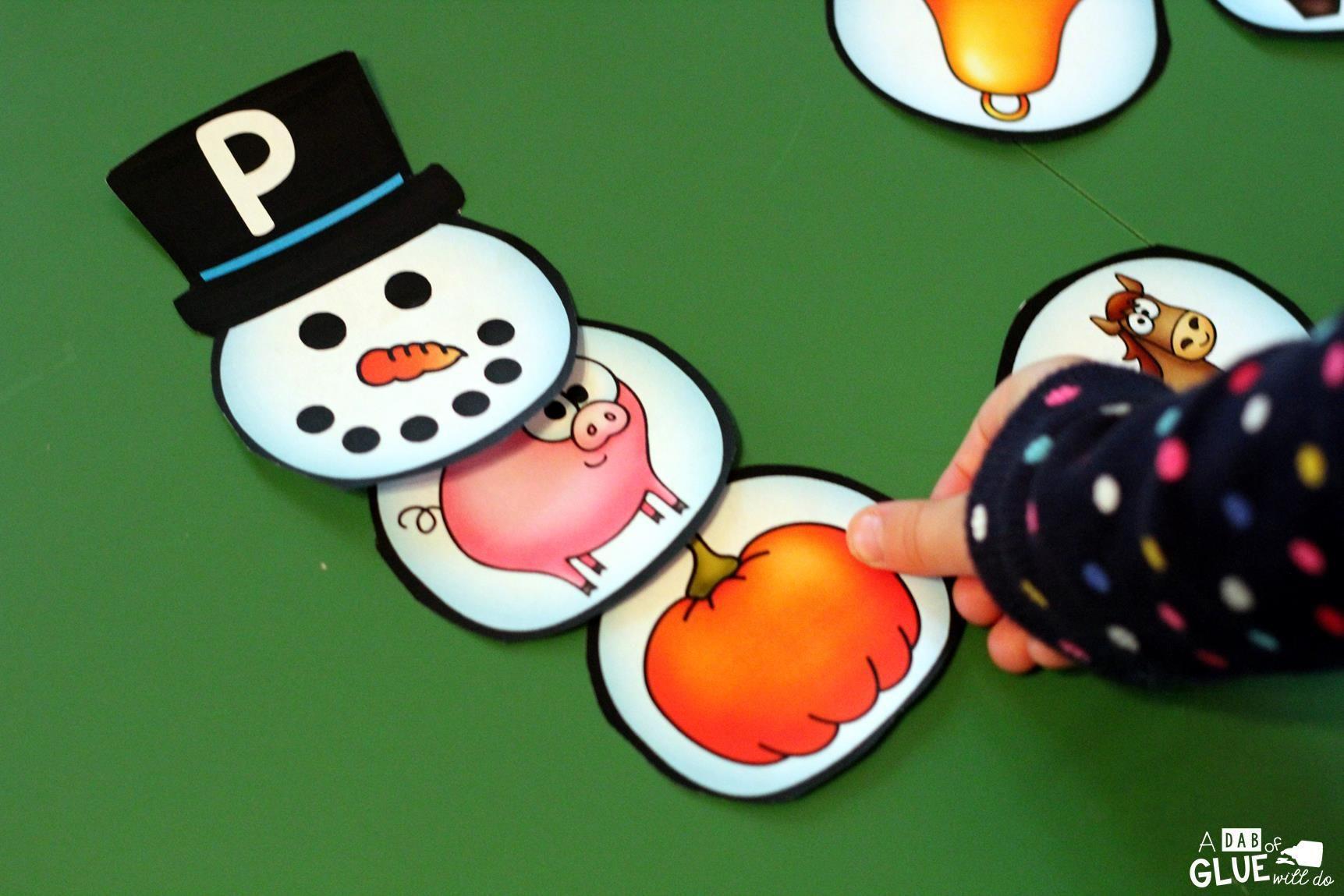 Initial Sound Snowman Printable