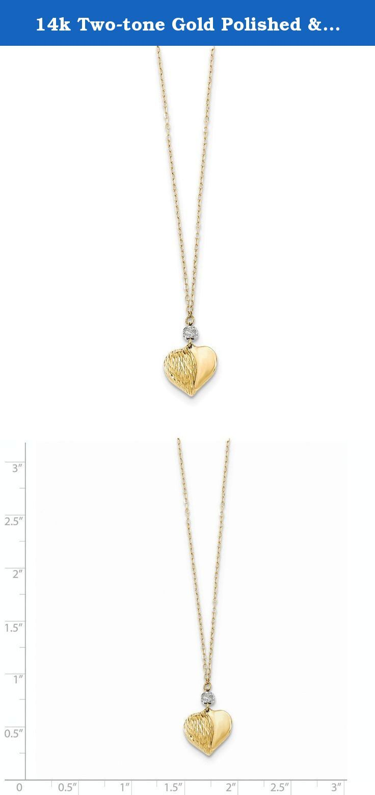 K twotone gold polished u dc puffed heart necklace chain length