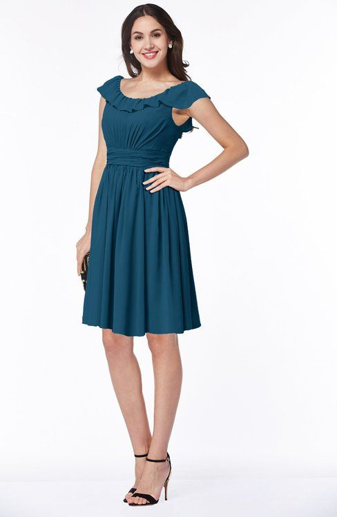e694e80091 Moroccan Blue Traditional Scoop Short Sleeve Chiffon Mini Ruching Plus Size  Bridesmaid Dresses