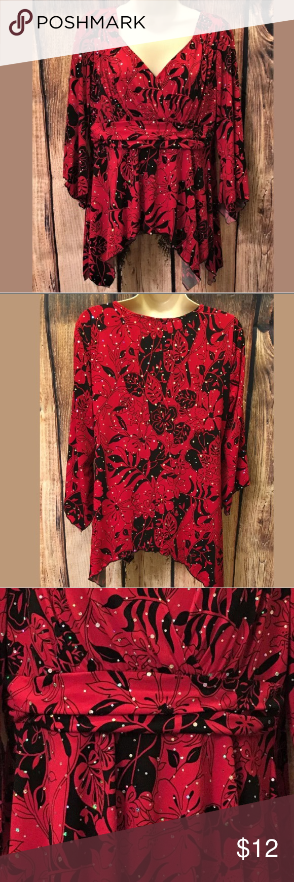 New directions long sleeve top large color red and conditioning