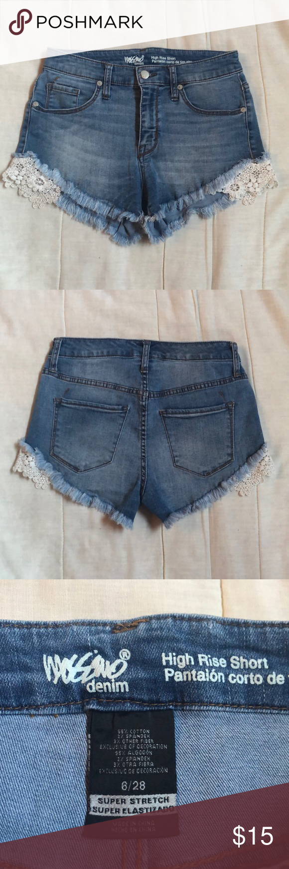 Mossimo Lace Shorts •Perfect for summer  •The button is scratched up but in good condition otherwise (see photo)  •High rise shorts  •Lace details on the sides  •Measurements   - Waist: 14 inches   - Length: 10 inches  •Please ask questions