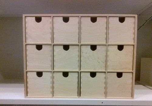 Ikea Mini Wooden Chest Of 12 Drawers Storage Box