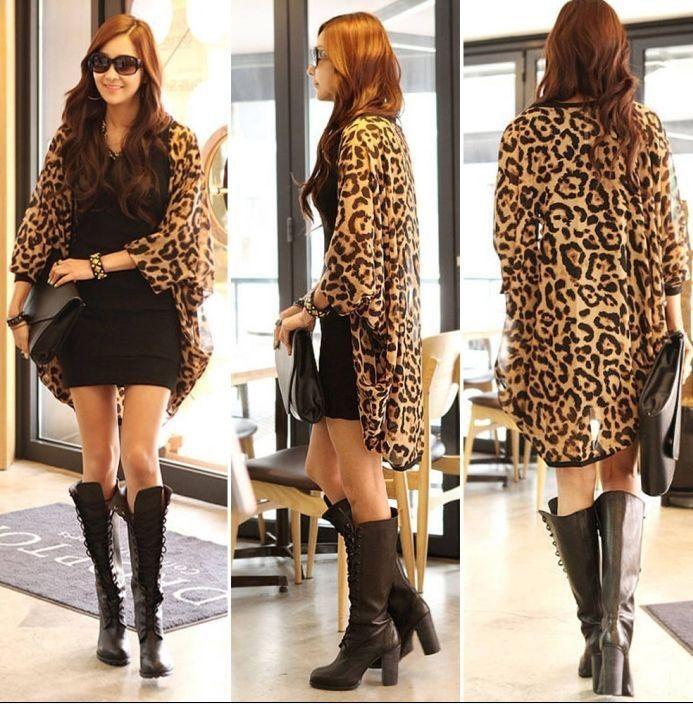 chiffon vrouwen voorkomen koesteren in luipaard graan grote werven sjaal Vestidos casual Vestidos casual y414 $5.12 (free shipping)