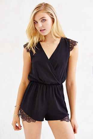 Kimchi Blue Lace-Inset Silky Romper - Urban Outfitters